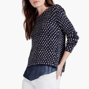 LUCKY Navy Polkadot Sweater With Sheer Underlayer